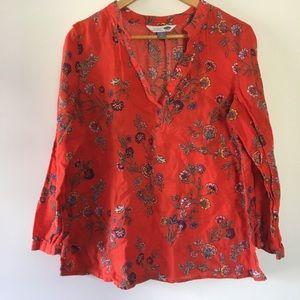 OLD NAVY red floral v-neck long sleeve top large